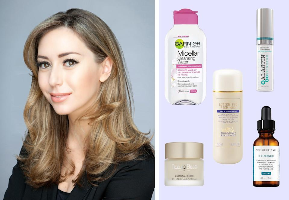 """<h1 class=""""title"""">dr. shereene idriss; her favorite skin-care products on a purple background</h1><cite class=""""credit"""">Courtesy of Dr. Idriss/Brittany Theophilus</cite>"""