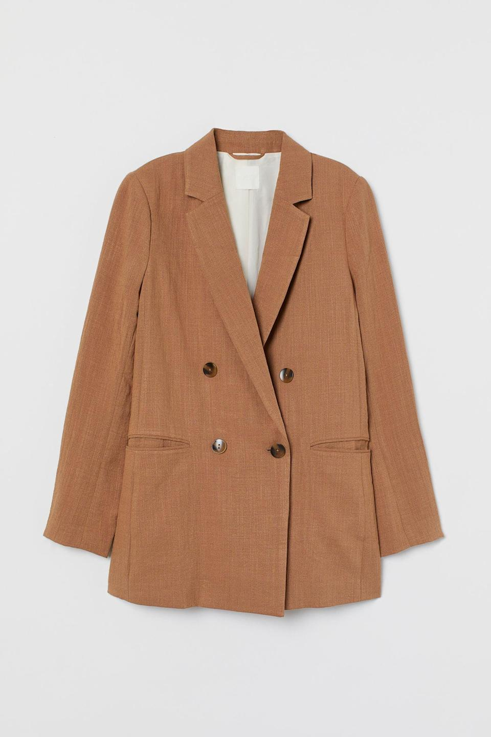 <p>Be daring and style this <span>H&amp;M Double-Breasted Blazer</span> ($28, originally $35) as a top over a delicate slip skirt.</p>