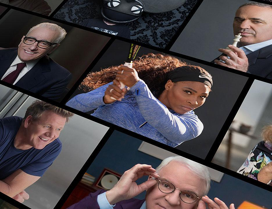 a collage of the famous people who teach courses on masterclass, including serena williams, steve martin and gordan ramsey