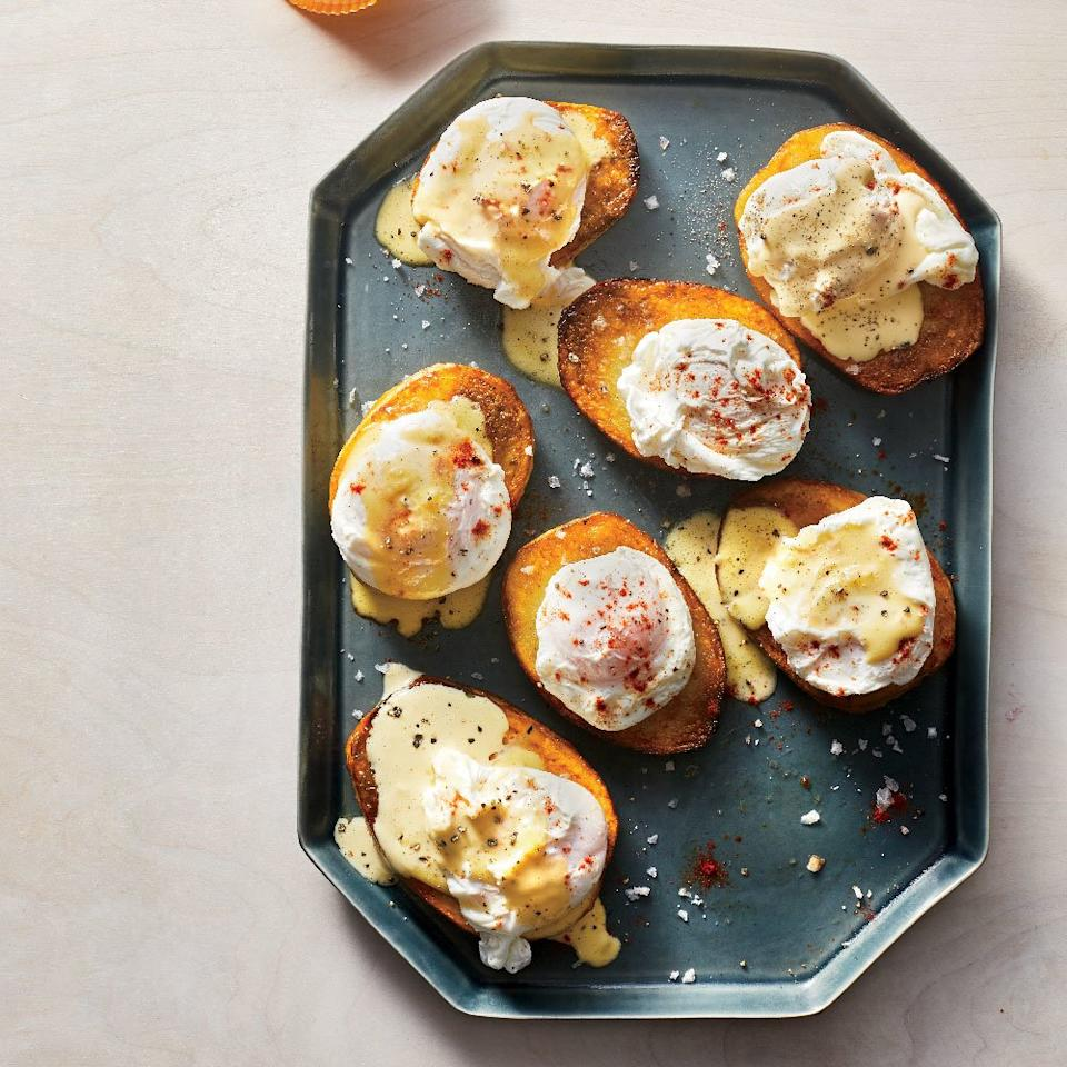 """<p>Laced with assertive horseradish, this sauce makes a lively accompaniment to both poached eggs and crisp, buttery potatoes.</p> <p> <a href=""""https://www.foodandwine.com/recipes/horseradish-hollandaise"""">Go to Recipe</a></p>"""