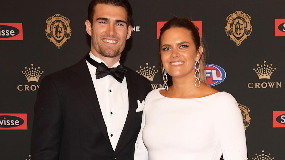 Easton and Tiffany Wood are pictured on the red carpet before the 2018 Brownlow Medal.