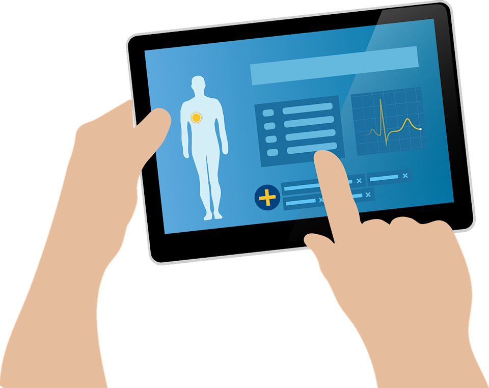 Illustration of a tablet showing patient information