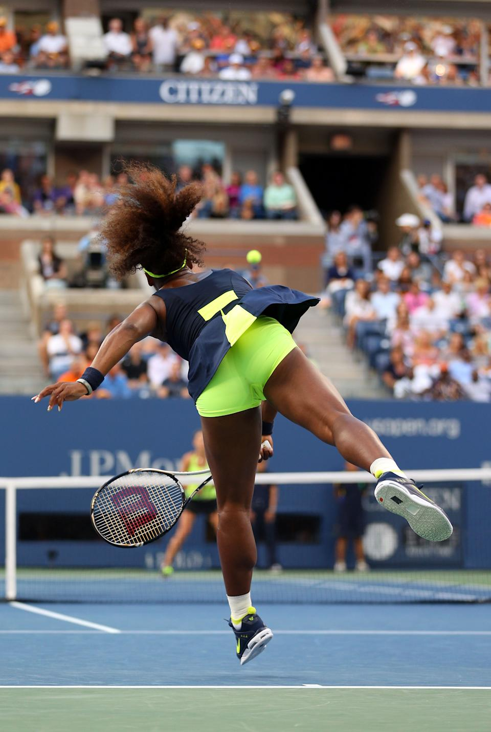 Serena Williams of the United States serves during the women's singles final match against Victoria Azarenka of Belarus on Day Fourteen of the 2012 US Open at USTA Billie Jean King National Tennis Center on September 9, 2012 in the Flushing neighborhood of the Queens borough of New York City. (Photo by Cameron Spencer/Getty Images)