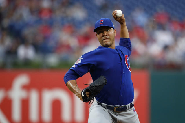 Chicago Cubs' Jose Quintana pitches during the first inning of a baseball game against the Philadelphia Phillies, Tuesday, Aug. 13, 2019, in Philadelphia. (AP Photo/Matt Slocum)