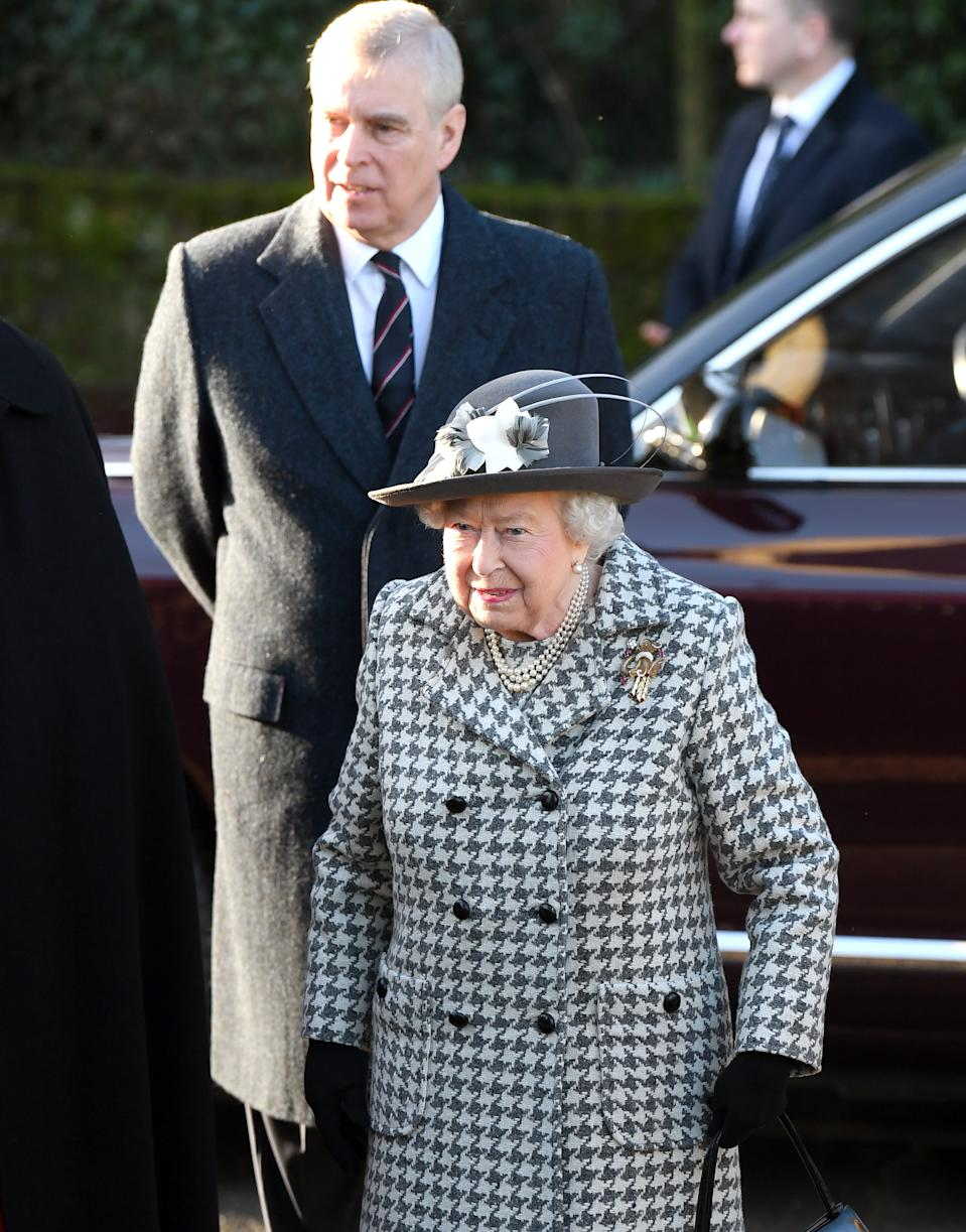 Queen Elizabeth II and Prince Andrew attend St Mary the Virgin church at Hillington in Sandringham on Sunday. (PA)
