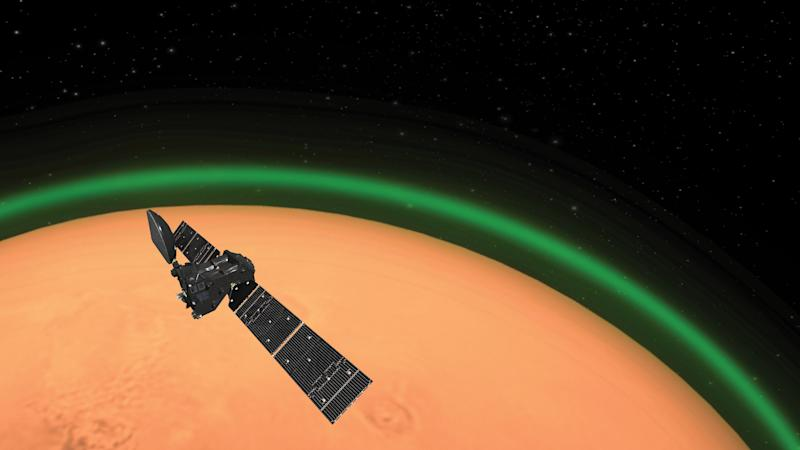 The Exomars orbiter detected a glow above Mars (ESA)