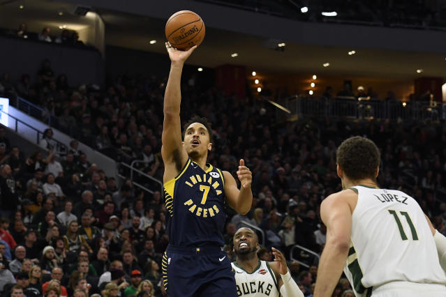 While he would have stayed in Milwaukee, Malcolm Brogdon is enjoying his bigger role with the Pacers this season. (Quinn Harris/Getty Images)