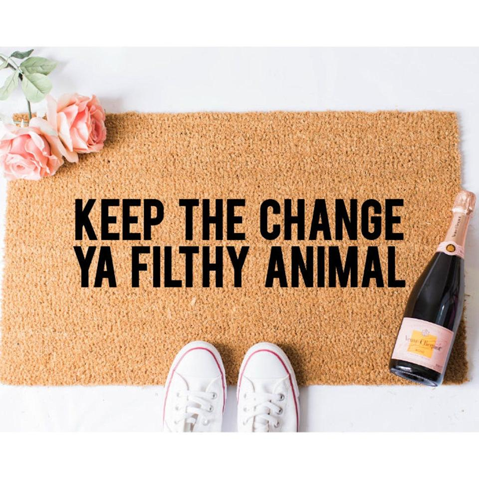 <p>If you love <b>Home Alone</b>, the <span>Keep the Change Doormat</span> ($56+, originally $70) is a holiday must-have.</p>