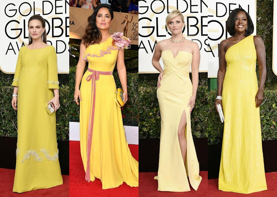 <p>Celebs are literally brightening up the red carpet this year as yellow has become the 'it' colour after several ladies donned the hue at the Golden Globes. [Photo: Getty] </p>
