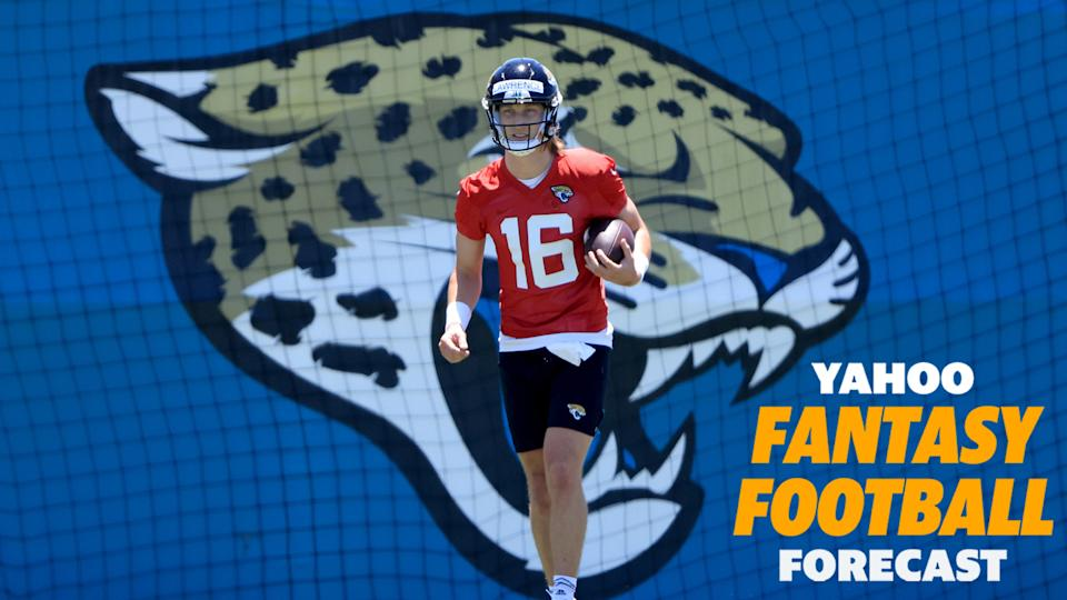 Rookie QB Trevor Lawrence participates in Jaguars rookie mini-camp. (Photo by Sam Greenwood/Getty Images)