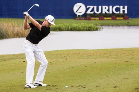 Apr 30, 2017; Avondale, LA, USA; Jonas Blixt watches his tee shot on the ninth hole during the final round of the Zurich Classic of New Orleans golf tournament at TPC Louisiana. Mandatory Credit: Stephen Lew-USA TODAY Sports