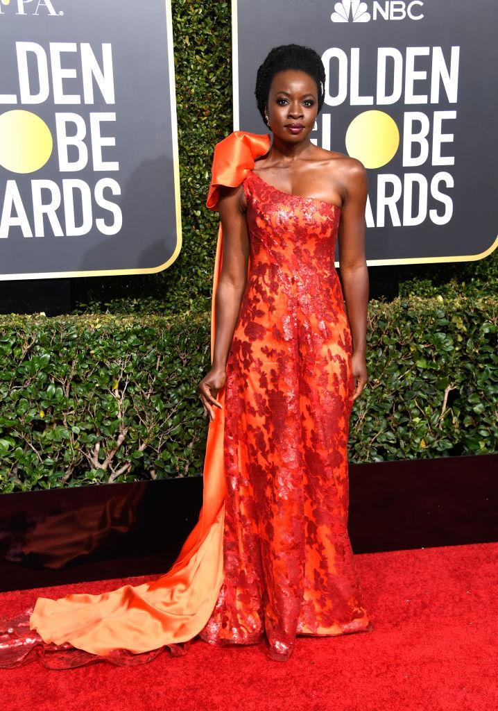 <p>Danai Gurira attends the 76th Annual Golden Globe Awards at the Beverly Hilton Hotel in Beverly Hills, Calif., on Jan. 6, 2019. (Photo: Getty Images) </p>