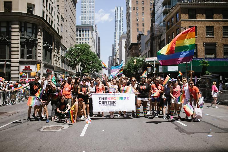 A contingent from the Center celebrating at last year's NYC Pride march. (Da Ping Luo)