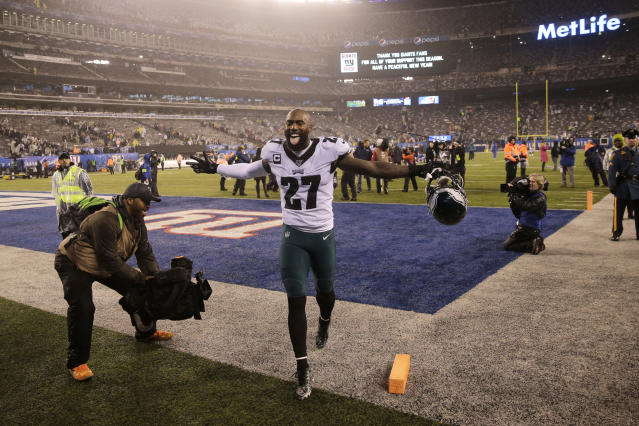 Eagles safety Malcolm Jenkins celebrates beating the Giants on Sunday and clinching a playoff spot. Philly's next opponent: Seattle. (AP Photo/Seth Wenig)