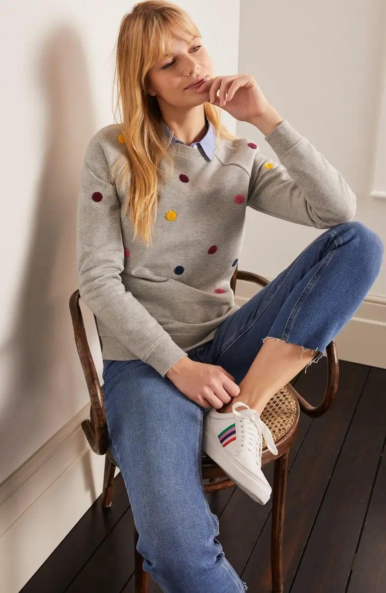 <p>The dots on this <span>Boden Stretch Cotton Sweatshirt</span> ($90) make us smile.</p>