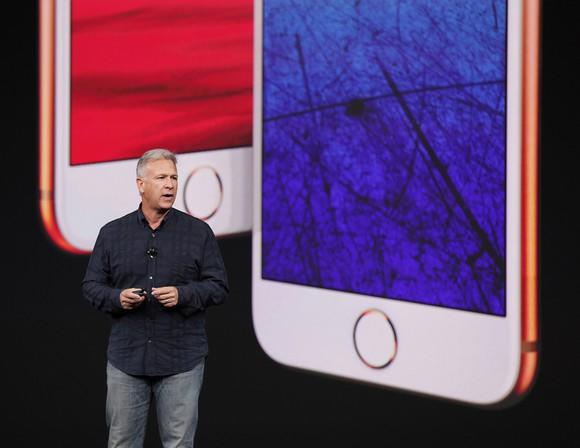 Apple exec Phil Schiller presenting the iPhone 8 and iPhone 8 Plus.