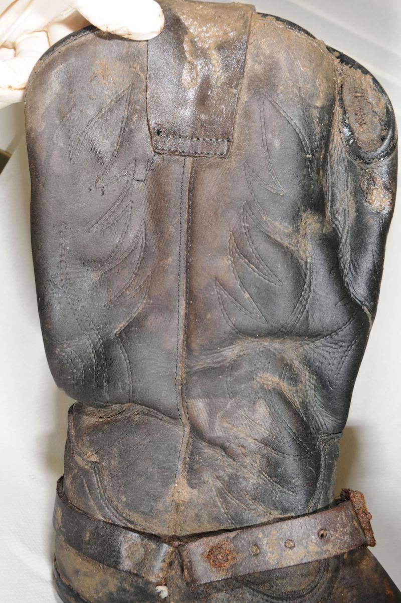 The boots were found in the town of St Osyth, close to Clacton-on-Sea (Essex Police)