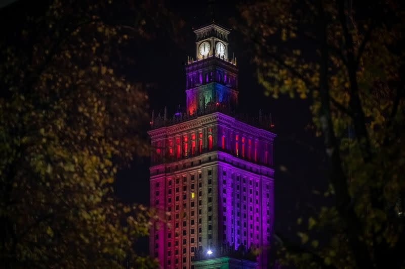 The Palace of Culture is illuminated with rainbow colours in a gesture of solidarity with the LGBT community in Warsaw
