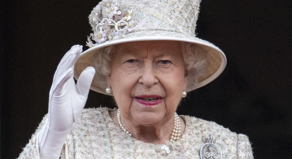LONDON, ENGLAND - JUNE 08: Queen Elizabeth II during Trooping The Colour, the Queen's annual birthday parade, on June 8, 2019 in London, England. (Photo by Mark Cuthbert/UK Press via Getty Images)