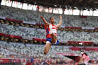 <p>Juan Miguel Echevarria of Team Cuba competes in the Men's Long Jump Final on day ten of the Tokyo 2020 Olympic Games at Olympic Stadium on August 02, 2021 in Tokyo, Japan. (Photo by Cameron Spencer/Getty Images)</p>