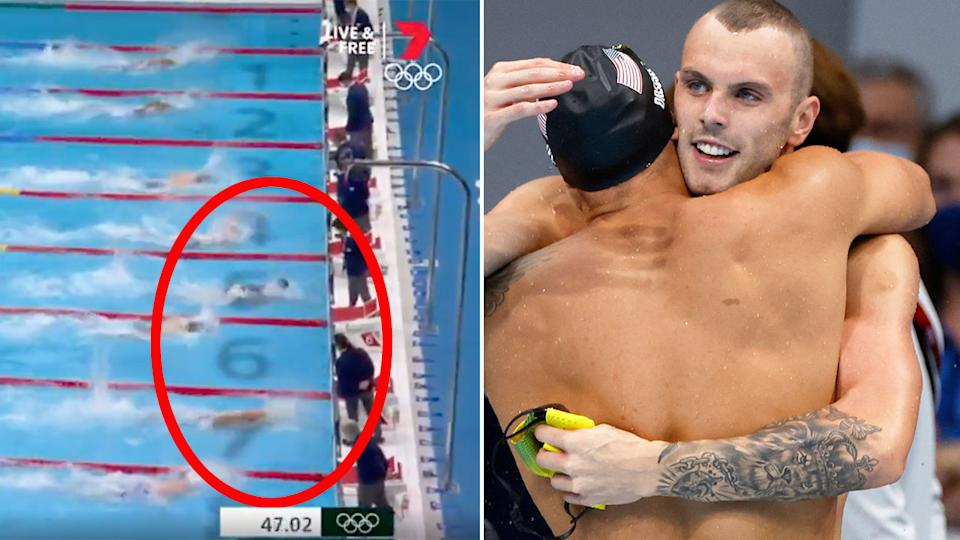 Kyle Chalmers was pipped to the gold medal by Caeleb Dressel in the 100m freestyle. Pic: Ch7/Getty