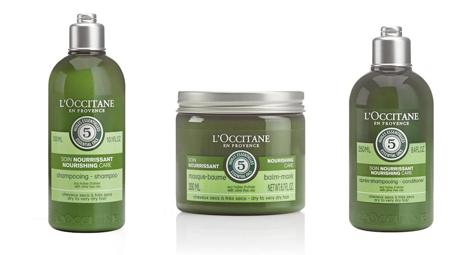 <p>Everyone's hair's dried out and damaged at during the summer, which is why L'Occitane's trio of hair products are such a welcome new launch. Bursting with olive oil and five essential oils, they're each designed to provide concentrated nourishment for dry hair – right from the roots to the tips. </p>