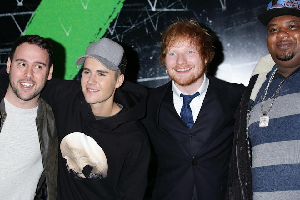 (left to right) Talent manager Scooter Braun, Justin Bieber, Ed Sheeran and Big Narstie arriving for the world premiere of Ed Sheehan's debut concert film Jumpers for Goalposts, at the Odeon Leicester Square, central London. PRESS ASSOCIATION Photo. Picture date: Thursday October 22, 2015. Photo credit should read: Yui Mok/PA Wire