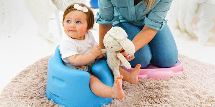 """<p>If your baby can't yet sit up on their own, and you're looking to cross a few things off your to-do list, you need to get a floor seat. By using one of these floor seats, your babe can hang out in a safe spot, giving you a few hands-free moments to mix up their formula.</p><p>There's also a ton of variety to choose from — some floor seats feature toys and rattles in addition to full back support, while others include easy-to-clean trays for feeding sessions. Some baby floor seats are ideal for families that travel a lot, and others are better for use at home. </p><p>Check out these baby floor seats that'll give your kiddo a whole new view of the world. Just note that your child should be able to hold their head up without support, and make sure that the seat is safely placed flat on the floor. And of course, <a href=""""https://www.cpsc.gov/content/serious-head-injuries-to-infants-continue-due-to-falls-from-bumbo-baby-seats-used-on"""" rel=""""nofollow noopener"""" target=""""_blank"""" data-ylk=""""slk:don't leave them in it unattended"""" class=""""link rapid-noclick-resp"""">don't leave them in it unattended</a>.</p>"""