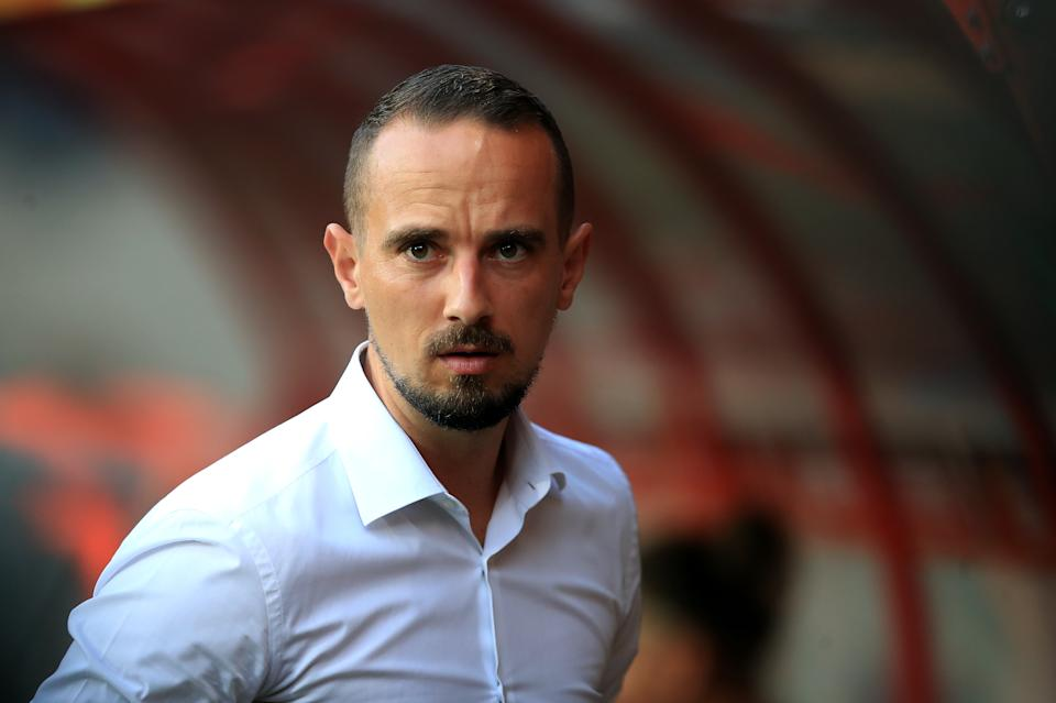 England manager Mark Sampson during the UEFA Women's Euro 2017 match at the De Grolsch Veste, Enschede. (Photo by Mike Egerton/PA Images via Getty Images)