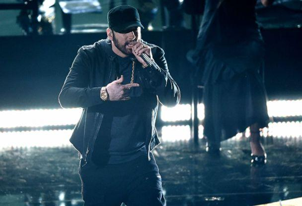 PHOTO: Eminem performs 'Lose Yourself' at the Oscars, Feb. 9, 2020, at the Dolby Theatre in Los Angeles. (Chris Pizzello/Invision/AP)