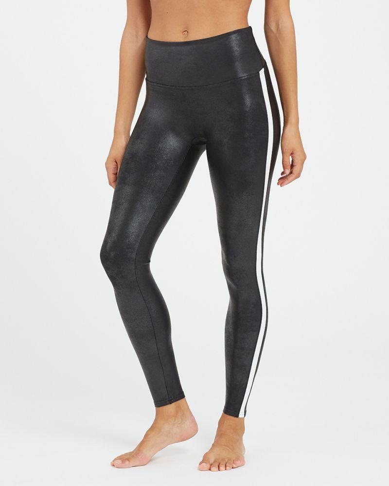 Faux Leather Side Stripe Leggings. Image via Spanx.