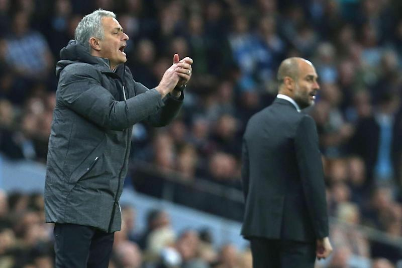 Frustrated figures: Jose Mourinho and Pep Guardiola: Man Utd via Getty Images