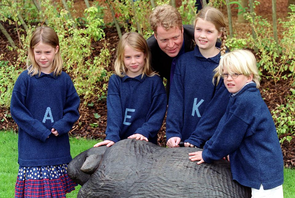 Earl Spencer with his children (l to r) Amelia, Eliza, Kitty and Louis at the opening of the Diana, Princess of Wales memorial garden, in Hyde Park, which was opened by Rosa Monckton, one of the best friends of the late Princess, and her 5 year old daughter Domenica.   (Photo by Peter Jordan - PA Images/PA Images via Getty Images)
