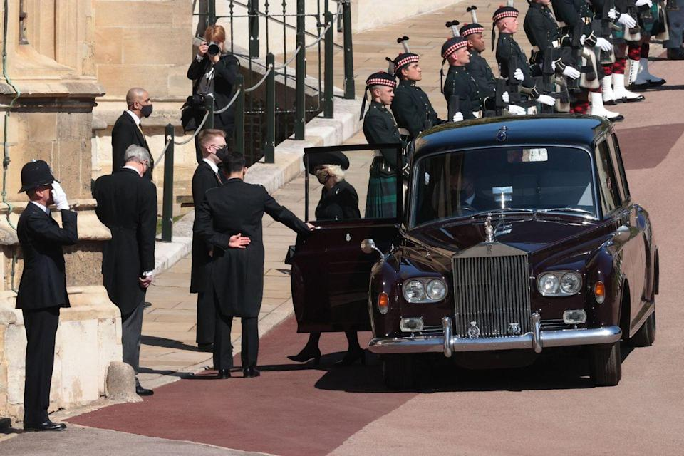 <p>Camilla, Duchess of Cornwall, is pictured attending the funeral. Prince Charles will be walking in the processional to the chapel. </p>