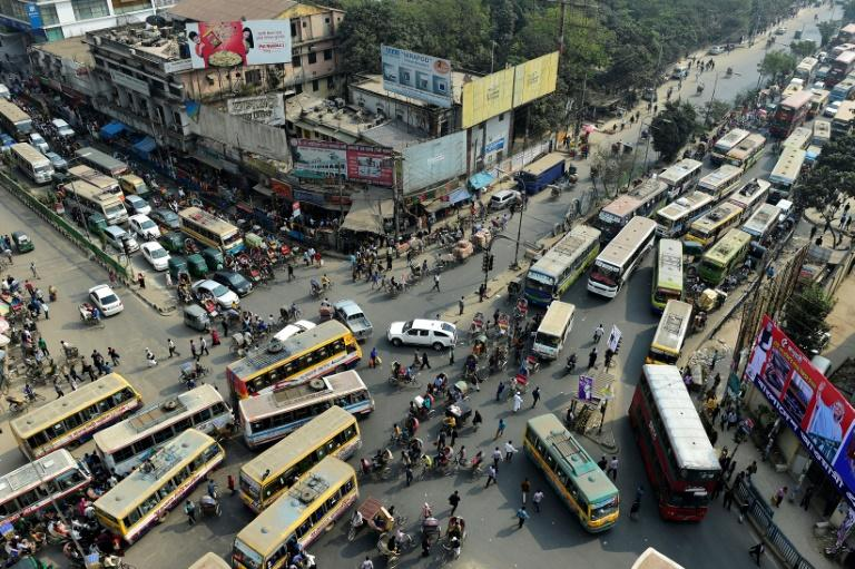 Dhaka's congested streets were made worse by strike of Uber drivers
