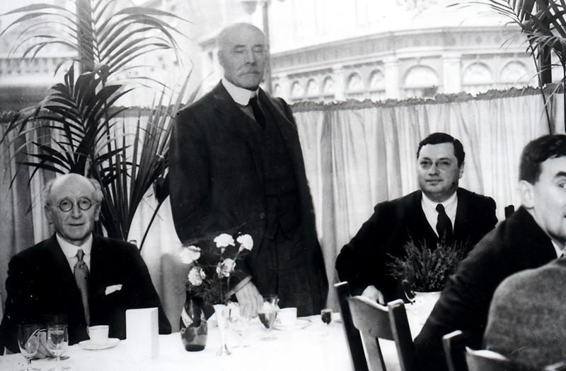 In this image made available Tuesday Jan. 15, 2013, by EMI Trust, showing famed English composer Edward Elgar, centre, during a luncheon given during the opening of the first HMV music store at number 363 Oxford Street, in London on July 20, 1921. British music and entertainment retailer HMV admitted defeat on Tuesday Jan. 15, 2013, after more than 90-years of trading on the U.K. high street, suspending trading in its shares and calling in administrators to try to salvage any viable parts of the business. (AP Photo / EMI Trust)