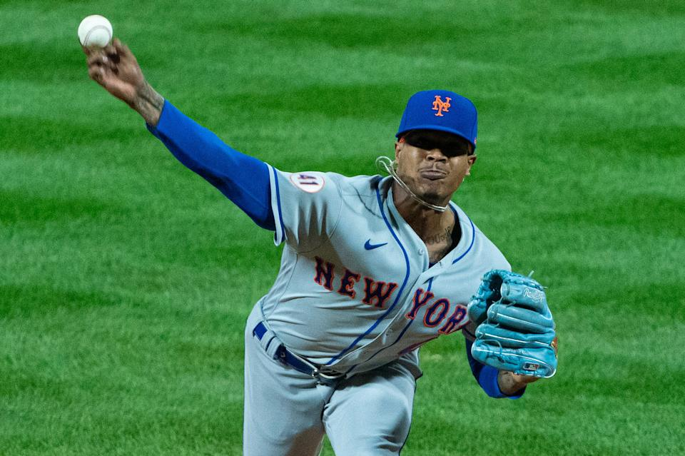 Apr 6, 2021; Philadelphia, Pennsylvania, USA; New York Mets starting pitcher Marcus Stroman (0) pitches during the second inning against the Philadelphia Phillies at Citizens Bank Park. Mandatory Credit: Bill Streicher-USA TODAY Sports