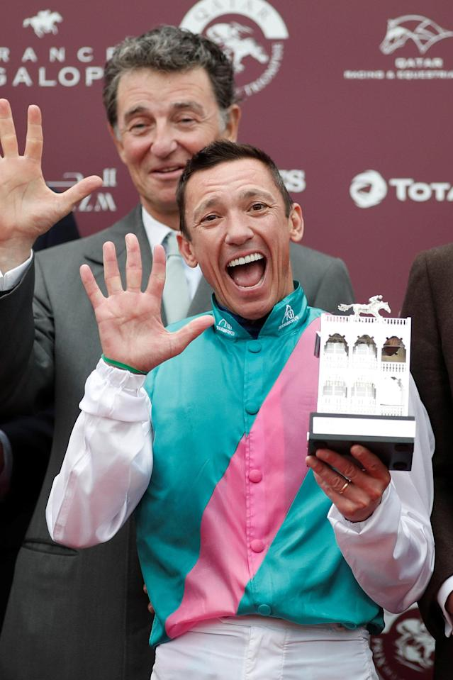 Horse Racing - Qatar Prix de l'Arc de Triomphe - Chantilly Racecourse, France - October 1, 2017 Frankie Dettori on Enable celebrates with the trophy after winning the Qatar Prix de l'Arc de Triomphe (Group 1) REUTERS/Benoit Tessier