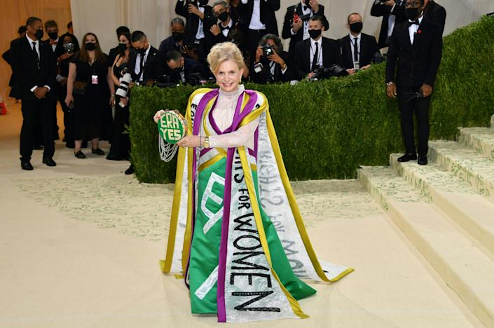 Congresswoman Carolyn B. Maloney arrives for the 2021 Met Gala at the Metropolitan Museum of Art on September 13, 2021 in New York. - This year's Met Gala has a distinctively youthful imprint, hosted by singer Billie Eilish, actor Timothee Chalamet, poet Amanda Gorman and tennis star Naomi Osaka, none of them older than 25. The 2021 theme is