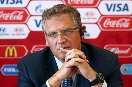 FILE PHOTO: FIFA secretary general Jerome Valcke attends a news conference during his visit to Samara, one of the 2018 World Cup host cities, Russia, June 10, 2015. REUTERS/Maxim Zmeyev/File Photo