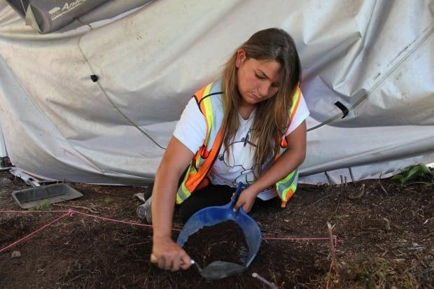 Jenna Copage from Annapolis Valley First Nation started working at the Pasi'tuek site in the Annapolis Valley earlier this summer. (Emma Smith/CBC - image credit)