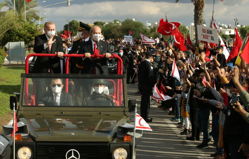 Turkish President Tayyip Erdogan and Turkish Cypriot leader Ersin Tatar attend a ceremony marking the 37th anniversary of the Declaration of Independence of the Turkish Republic of Northern Cyprus in northern Nicosia