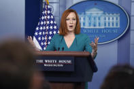 White House press secretary Jen Psaki speaks during a press briefing at the White House, Tuesday, May 25, 2021, in Washington. (AP Photo/Evan Vucci)
