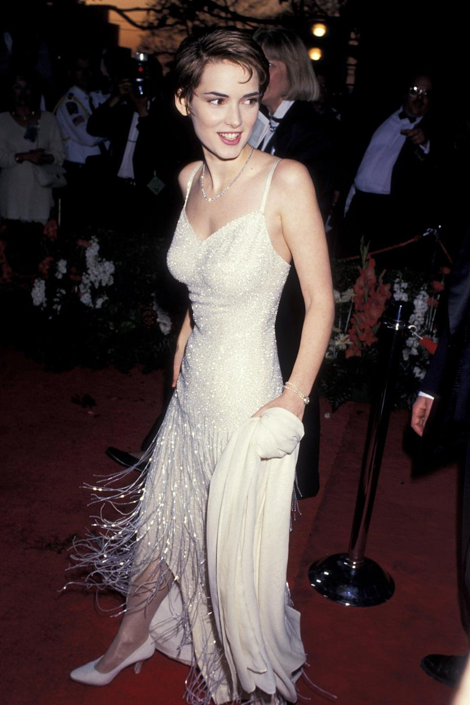 """<h2>Winona Ryder, 1994<br></h2><br>Who doesn't love a Gatsby-esque gown at the Oscars? <span class=""""copyright"""">Photo: Ron Galella Collection/Getty Images.</span>"""