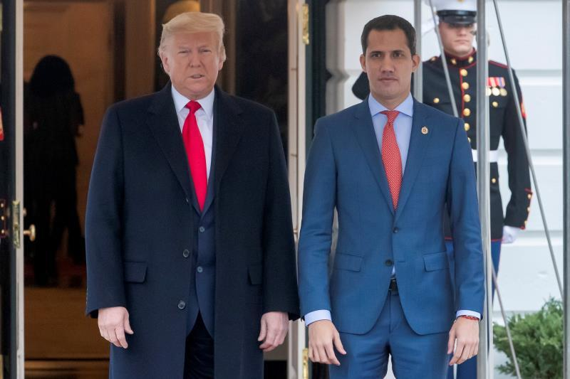 US President Donald J. Trump (L) receives the President of the National Assembly of Venezuela Juan Guaidó (R) at the South Portico of the White House in Washington, DC, USA, 05 February 2020. EFE/EPA/ERIK S. LESSER