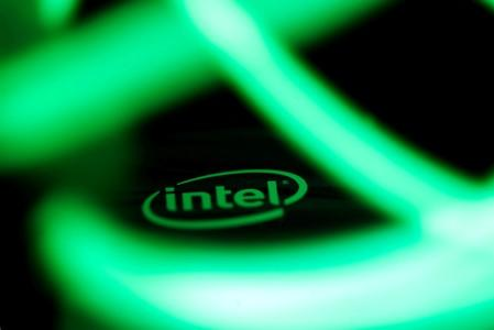 Intel logo is seen behind LED lights in this illustration