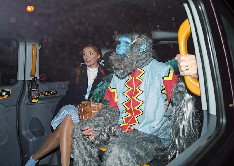 Holly Willoughby and her husband Dan Baldwin leaving a Halloween party hosted by Jonathan Ross at his house in north London. (Photo by Yui Mok/PA Images via Getty Images)