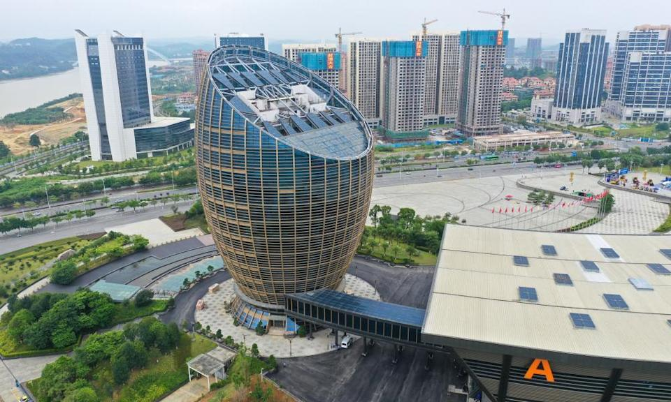 Aerial view of the strange egg-shaped office building in Liuzhou city, south China's Guangxi province