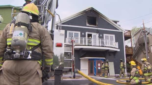The volunteer firefighters had the fire under control by 5:30 p.m. Friday. (CBC - image credit)