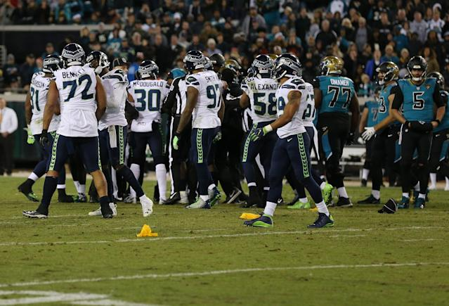 JACKSONVILLE, FL - DECEMBER 10: Members of the Seattle Seahawks and tyhe Jacksonville Jaguars tussle on the field during the second half of their game at EverBank Field on December 10, 2017 in Jacksonville, Florida. Logan Bowles/Getty Images/AFPJACKSONVILLE, FL - DECEMBER 10: Members of the Seattle Seahawks and tyhe Jacksonville Jaguars tussle on the field during the second half of their game at EverBank Field on December 10, 2017 in Jacksonville, Florida. Logan Bowles/Getty Images/AFP (AFP Photo/Logan Bowles)